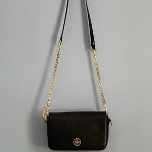 Tory Burch Black Leather Robinson crossbody